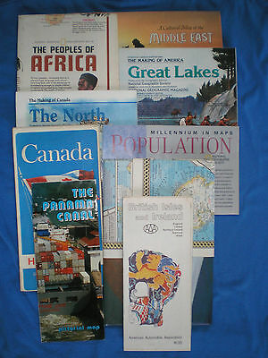 Lot of 9 National Geographic Maps, World,Africa,Middle East,the North,Canada,UK