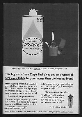 1963 Zippo ad ~ New Zippo Lighter Fuel with Vintage Lighter ~ 5 x 7 Promo