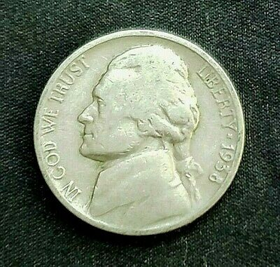 1938 P Jefferson Nickel, Circulated, Key Date, Mintage only 19.5 Mil