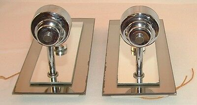 Vtg mid century modern double mirror chrome electric wall sconce lamp light 2