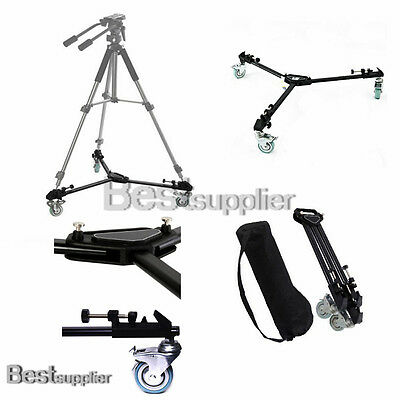 Professional Video Universal Folding Dolly Tripod Wheels Case New