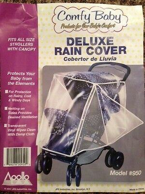 Plastic cover for baby carriage & stroller to protect child from rain & wind
