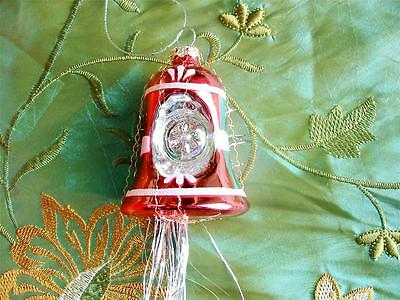 Vintage Style Glass Bell Christmas Indent Ornament Crinkle Wire Pink New