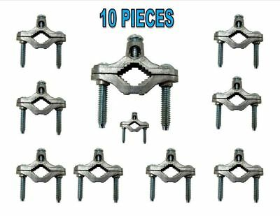 10 Cold Water Pipe Ground Clamps Zinc fits 1/2-1 UL Approved CATV Satellite