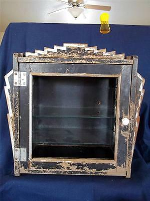 Antique Art Deco Wood Barber Ship Cabinet Display Case Shabby Chic Chippy Paint
