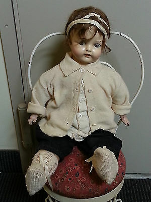 "**VINTAGE ANTIQUE 21"" COMPOSITION BABY DOLL Flossy Flossie Flirt by Ideal**"