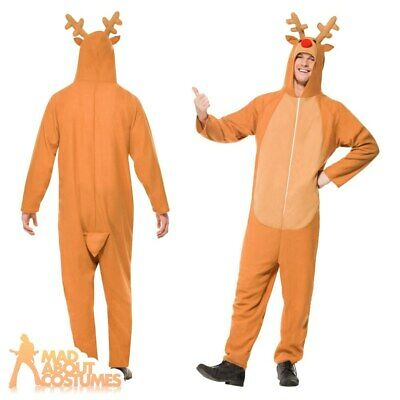 Mens Reindeer Jump Suit Costume Adult Christmas Rudolph Fancy Dress Xmas Outfit