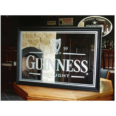 """GUINNESS DRAUGHT LARGE 40"""" FROSTED BAR MIRROR BIG PUB SIGN NEW guiness harp beer"""