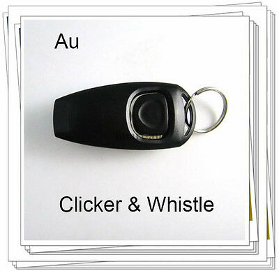 NEW Black Dog Pet Puppy Cat Training Clicker & Whistle Click Trainer Obedience