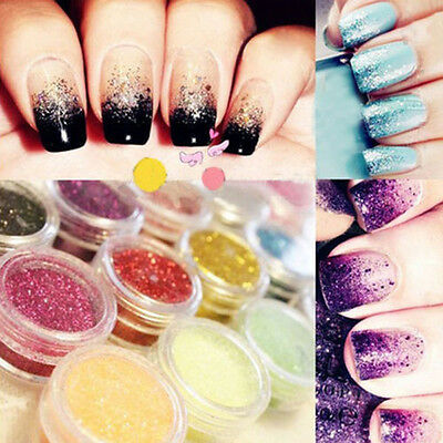 Nail Art Acrylic Glitter Powder Dust For Tips phone Decoration DIY 12 Mix Color