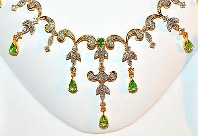 Natural 11Cts Vs G Diamond Tsavorite Green Garnet 18K Gold Necklace Earrings Set
