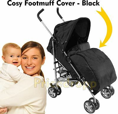 Pram Cosy Stroller Cover Footmuff Fits Buggy Pushchair Leg Warmer Padded Black