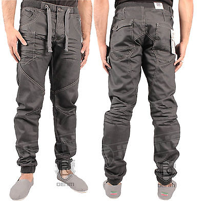 Boys Kids Enzo Ezb192 Dark Grey Jeans Cuffed Tapered Jogger All Sizes 24 To 27