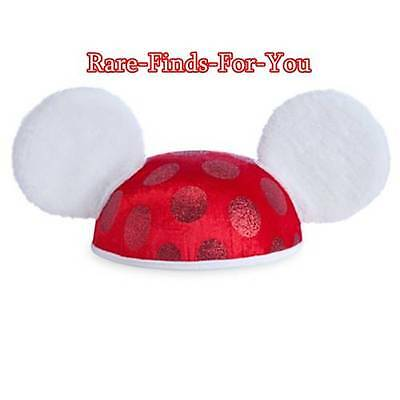 Disney Theme Parks Mickey Minnie Mouse Plush Ear Christmas Hat Cap NEW WITH TAGS