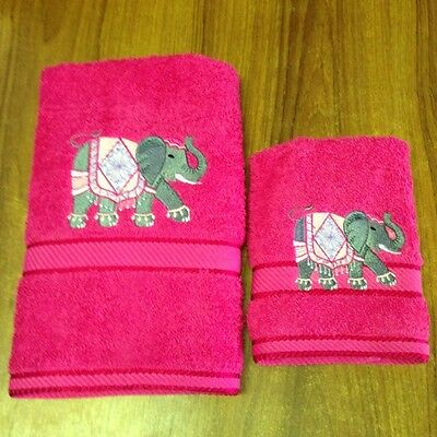 Handtowel & Washer  Embroidered With  Elephant