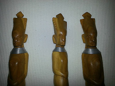 VINTAGE 3 ANTICHE POSATE LEGNO ARTE AFRICANA 1950 Old African Cutlery woman face