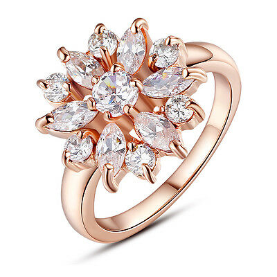 Gold Plated Finger Ring with AAA Multicolor Cubic Zircon Wedding For Women GIFT