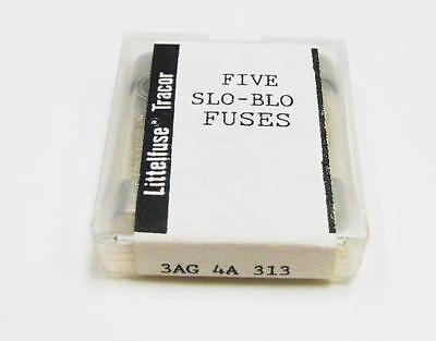 "(5) Littelfuse 4A 313004 3AG 250VAC 1/4"" x 1-1/4"" Fuses, Slo-Blo, Time Delay NEW"