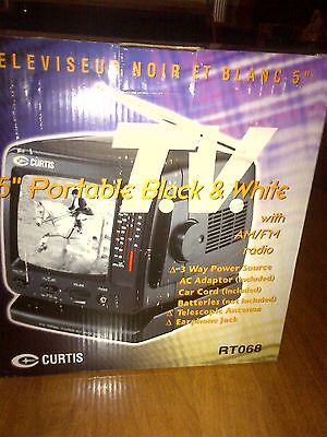 """CURTIS 5"""" Portable Black & White TV With AM/FM Radio NEW IN BOX !!!"""