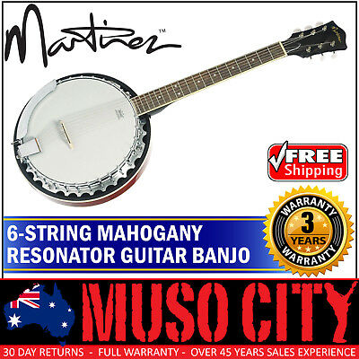 New Martinez 6 String Mahogany Resonator Guitar Banjo (Natural Gloss)