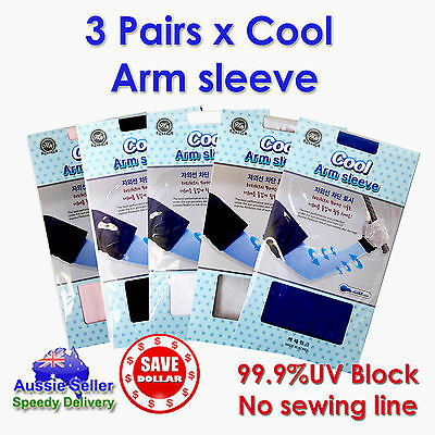 3Pair Cooling Sport Arm Stretch Sleeves Sun UV Protection Covers Golf Korea Made