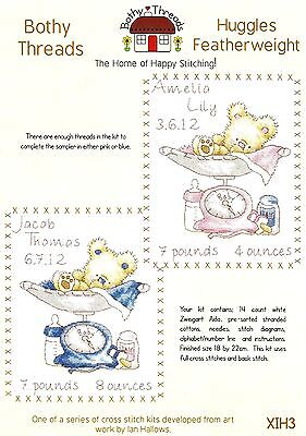 Bothy Threads Huggles Featherweight Baby Birth Sampler Counted Cross Stitch Kit