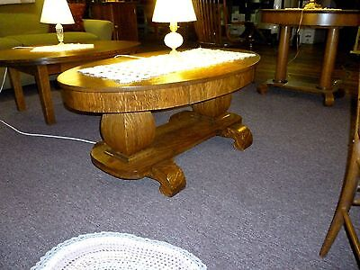 antique OaK table coffee  Library table desk Refinished quartersawn solid top