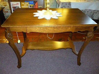 antique oak library table Solid quartersawn oak w/drawer Refinished USA