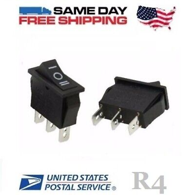 2 x SPDT ~ Single Pole Double Throw 3-Pin (ON-OFF-ON) 20amp Rocker Switches