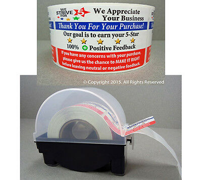 250 eBay Thank You For Your Purchase Shipping Labels Stickers 2x3 & DISPENSER
