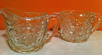 Vintage Wexford Stars and Bars clear pressed cut glass sugar bowl and creamer