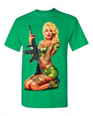 Marilyn Soldier Rifle Tattoo T-Shirt Monroe Bombshell Gangster Hollywood Tee