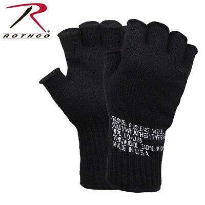 Black D-3A Military Wool Fingerless Glove Liners Skiing Hunting USA Rothco 8411