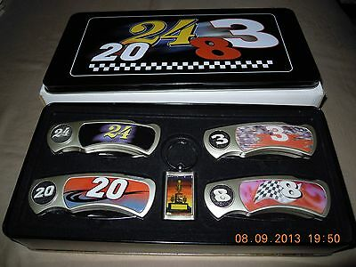 4 KNIFE NASCAR RACING CAR SET IN COLLECTOR TIN WITH #3,#8,#20,#24....NEW