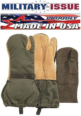 New Military Issue G.I. Leather Trigger Finger Mittens Extreme Cold Weather 4394