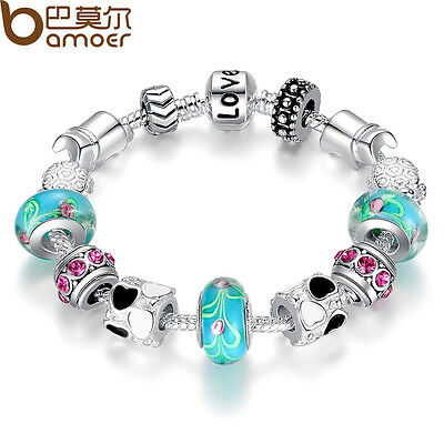 Xmas LOVE 925 Silver Charms P Bracelet European Blue Murano Beads DIY For Women