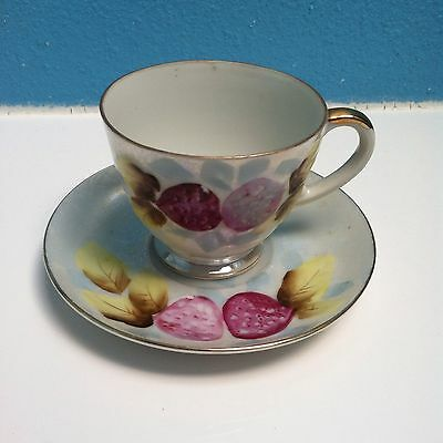 Lefton China Tea Cup And Saucer Signed # 802