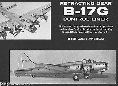 """Model Airplane Plans: B-17G 44.5"""" Scale UC for 4 .049s (Retracts, Flaps, Lights)"""