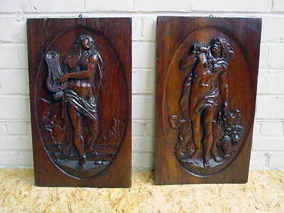 Detailed Carving in this Pair of French Renaissance Panels in Oak 19th Century