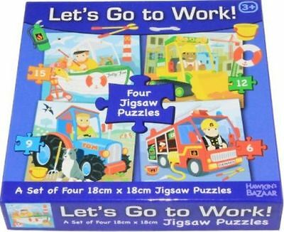 Jigsaw Puzzle Let's Go To Work! 4 in 1 box, New great stocking filler,uk