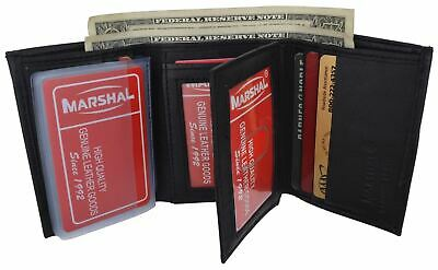 New Mens Trifold Leather Wallet Multi Pockets Classic Style Card ID Lambskin