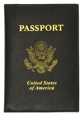 New Black Leather US Passport Cover ID/ Credit Card Travel Cover Case Marshal