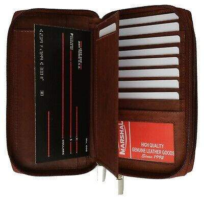 Zip around Genuine Leather Checkbook Wallet Clutch Travel Case Passport Holder
