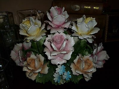 """HUGE Capodimonte Rose Centerpiece VERY HEAVY in Basket Bottom ITALY  11.5"""" Tall"""
