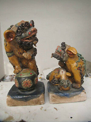 Chinese Folk Collection Old Porcelain Station Kylin Foo Dog Lions pair