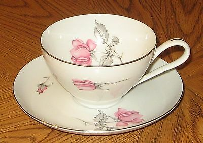 KPM Krister Germany Cup and Saucer #675 Pink Roses Gray Leaves Platinum Trim