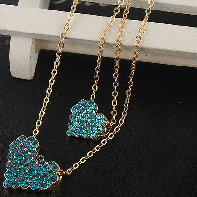 14k Gold Filled Austrian Crystal Pendant Dual Blue Heart Chain Necklace CB0973