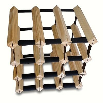 12 Bottle Timber Wine Rack - Complete Wooden Wine Storage System - Free Postage!