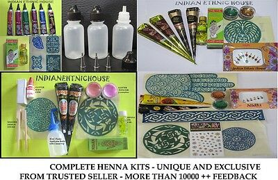 HENNA KIT For Beginners and Professionals - Best Body Art Temporary Tattoo Kits