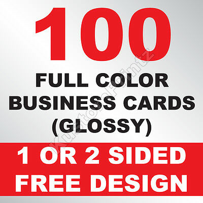100 Custom Full Color Business Cards | 16Pt | Glossy Uv Finish | Free Design
